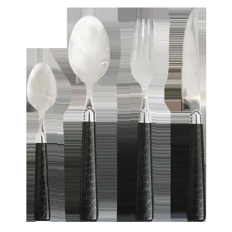 Cutlery set 24-piece croco print black
