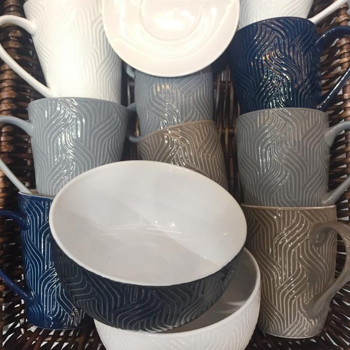 Coffee mugs embossed